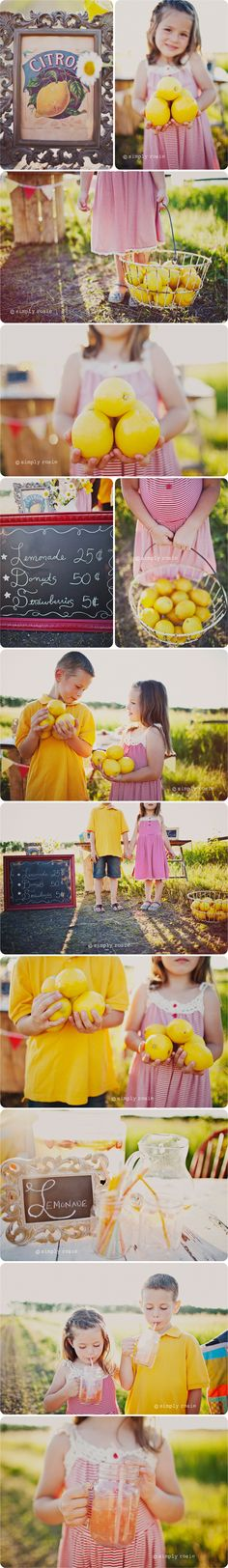 Cute summer photo shoot.  I love the use of lemons and the country feel. @Savanna louise