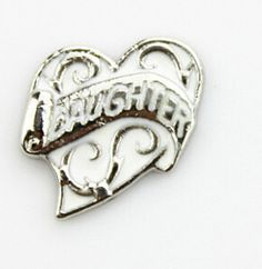 DAUGHTER in a White Filigree Heart Floating Locket Charm at www.showyourcharm.com This floating locket charm is perfect to include when putting together a jewelry collection for your daughter. Look for more charms in our collection to create her complete story.