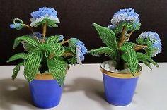 LIMOGES-BEADED-FLOWER-POTS-POT-FRANCE-CHAMART-FRENCH-BLUE-VINTAGE