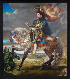 "Kehinde Wiley Studio, Equestrian Portrait of King Philip II (Michael Jackson), 2010  Oil on canvas  128"" x 112"""