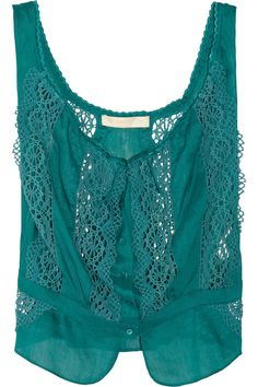 damn. Vanessa Bruno Lace-detailed linen and silk-blend top - 70% Off Now at THE OUTNET