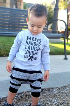 Hug Harder. Laugh Louder. Nap Longer. (Yeah Right! ;-) ) kids long sleeve tee shirt is perfect for any little I know! These tees are made to