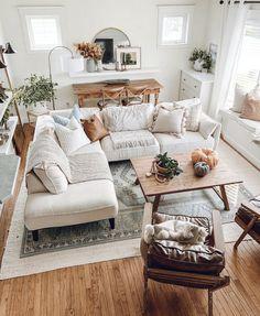 Fall Living Room, Boho Living Room, Neutral Living Rooms, Diy Living Room Decor, Living Room White, Modern Farmhouse Living Room Decor, Living Room Interior, Modern Farmhouse Interiors, Interior Livingroom