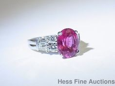Brand NEW 2.91ct Pink Tourmaline 18k White Gold Diamond Baguette Ring sz 6 ½  #SolitairewithAccents