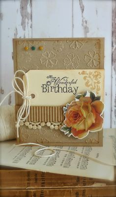 Synnøves Papirverksted: Rustic birthday card and a trip to France