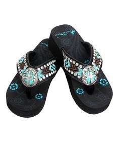 3140dfae17c456 Loving this Montana West Black  amp  Turquoise Rhinestone Wedge Flip-Flop  on  zulily