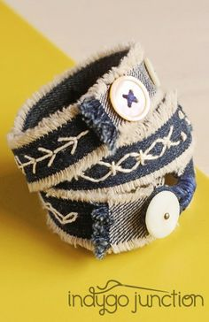 Combine embroidery, recycled denim and fun buttons in the Gypsy Wrap Bracelets from Indygo Junction's Stitched Style book $19.99