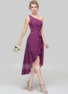 A-Line/Princess One-Shoulder Asymmetrical Ruffle Bow(s) Cascading Ruffles Zipper Up Regular Straps Sleeveless No Champagne Spring Summer Fall General Plus Chiffon Bridesmaid Dress