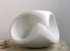 Carrara marble Abstract Loop sculpture / statue / statuette #sculpture by #sculptor Lotte Thuenker titled: 'Kapriole IV' #art