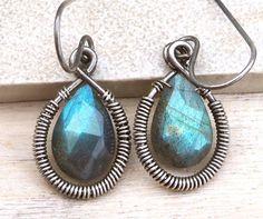 Wire Wrapped Labradorite Antiqued Sterling Silver Earrings | Luulla by K.K.