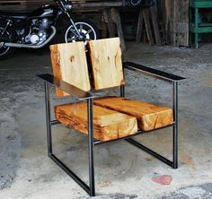 Love the big chunks of wood. Outdoor Furniture Plans, Log Furniture, Steel Furniture, Unique Furniture, Industrial Furniture, Custom Furniture, Vintage Furniture, Furniture Design, Wooden Table Diy