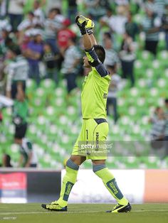 TORREON, MEXICO - MAY 10: Oswaldo Sanchez of Santos celebrates the opening goal of the game during the Semifinal second leg match between Santos Laguna and Pachuca as part of the Clausura 2014 Liga MX Playoffs at Corona Stadium on May 10, 2014 in Torreon, Mexico.
