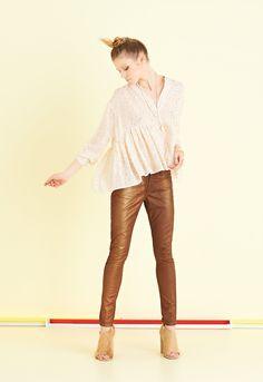 Pantalone slim in gabardine spruzzata bronzo   #ottodAme #FW15