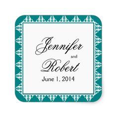 Teal and White Filigree Border Envelope Seal Square Sticker