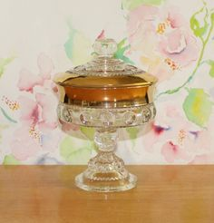 Vintage, Indiana Glass, Kings Crown, Lidded Compote, Thumbprint by cocoandcoffeevintage