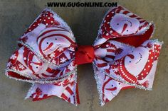 Red and White Snowman Bow with Glitter www.gugonline.com $12.95