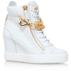 Giuseppe Zanotti Pigeon Wedge Sneaker ($1,015) ❤ liked on Polyvore featuring shoes, sneakers, sports footwear, sports shoes, wedged sneakers, wedge heel sneakers and giuseppe zanotti sneakers