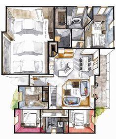 New House Drawing Architecture Floor Plans Ideas design sketches floor plans Interior Design Renderings, Drawing Interior, Interior Rendering, Interior Sketch, Croquis Architecture, Detail Architecture, Architecture Plan, Interior Architecture, House Sketch Plan