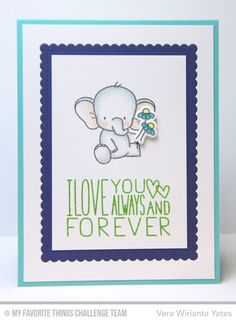Adorable Elephants, I Love You More, Adorable Elephants Die-namics, Stitched Mini Scallop Rectangle STAX Die-namics - Vera Wirianta Yates  #mftstamps