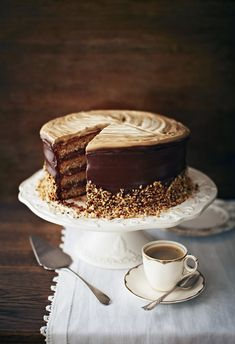 A double shot of cake-making joy. The perfect cake for the coffee-shop generation, this will cause a stir at any bake-off or birthday. Baking Recipes, Cake Recipes, Coffee With Alcohol, Russian Cakes, Cold Cake, Cocktail Sticks, Nutella Spread, Pastry Brushes, Classic Cake