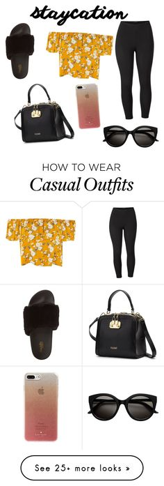 """A casual #staycation"" by ciannethomas on Polyvore featuring Charlotte Russe, Venus, Kate Spade and plus size clothing"