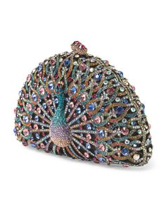 image of Peacock Crystal Clutch