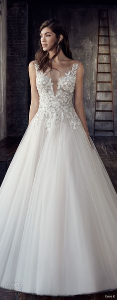 eddy k 2018 bridal cap sleeves illusion bateau deep plunging sweetheart neckline heavily embellished bodice tulle skirt romantic a line wedding dress open scoop back chapel train (199) zv mv -- Eddy K. Couture 2018 Wedding Dresses
