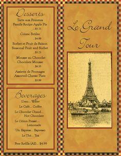 Niois Menu Board  French Things I Love     Menu