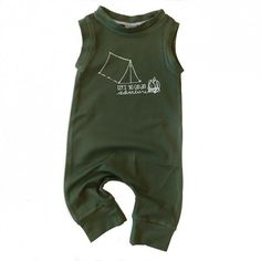 """Organic Bamboo """"Let's Go on an Adventure"""" 3/4 length tank romper"""