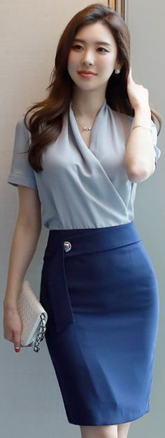 Navy H-Line Skirt sky crossover blouse fair skin coral smile chestlength cho Asian Woman, Asian Girl, Asian Ladies, Office Fashion, Beautiful Asian Women, Korean Women, Asian Style, Korean Style, Fashion Outfits