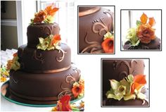 Chocolate Scrolls Wedding cake.  Hazelnut cake with chocolate fondant, sugar roses, calla lillies.  Kim Morrison of Cakes for Occasions