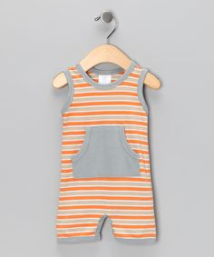Soft, luxurious pima cotton is a great choice for little ones. This sporty romper is adorned with stylish stripes and a kangaroo pocket.