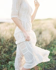 Breezy and light, this simple white eyelet dress is perfect for an outdoor engagement session.