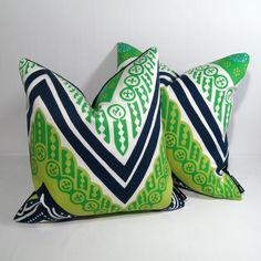 PAIR Blue Green Pillow Cover - Decorative Cushion - Modern Outdoor - Navy Lime Acid Green - Trina Turk - Set - 16 or 18 inch. $140.00, via Etsy.