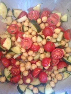 chick pea salad. Full of fiber and protein, low in calories.