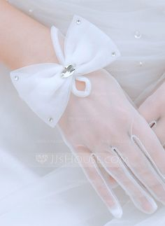 Tulle Wrist Length Bridal Gloves (014059684) - JJsHouse