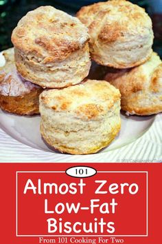 Almost zero-fat, these delicious non-guilt biscuits are tender and fluffy. I have for years called these Zero Fat Biscuits but, due to an insignificant amount of fat in the flour, they are now called Almost Zero Low-Fat Biscuits. Just follow these easy step-by-step photo instructions. Low Fat Biscuits, Healthy Biscuits, Diet Biscuits, Fat Free Recipes, Ww Recipes, Cooking Recipes, Chicken Recipes, Crack Crackers, Deserts