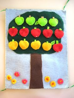 Quiet Book for Kindergarten - your kid can count, sort, make patterns, make addition and subtraction; the apples are detachable. The book is from felt.