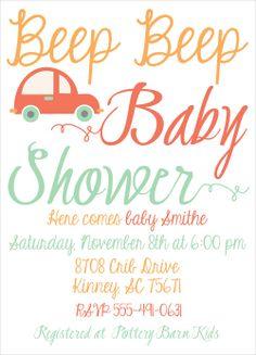beep beep baby, boy shower invites, baby shower invitations, shower invites, car baby shower, mint green, cars, boy shower ideas via Party Box Design