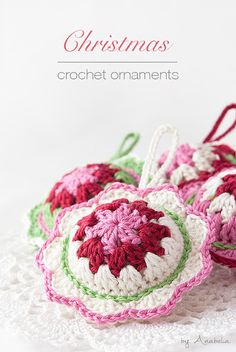 Christmas crochet ornament - pattern available to purchase @ Anabelia Craft Design Más Crochet Ornament Patterns, Christmas Crochet Patterns, Holiday Crochet, Crochet Home, Crochet Gifts, Crochet Summer, Crochet Baby, Crochet Christmas Ornaments, Handmade Ornaments