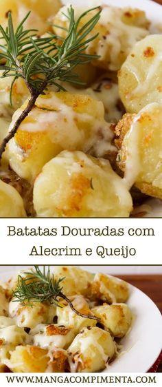 Batatas Douradas com Alecrim e Queijo - Receitas de Natal. #receita #batata #forno #ceia #natal #anonovo #finaldeano
