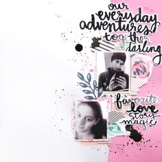 A 12×12 scrapbook layout using digital printable files by Laurel Lane Designs and a little bit of paint splatters.