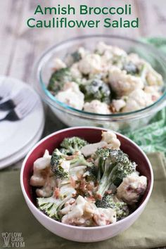 Invited to a pot-luck party but don't want to spend a lot of time preparing a healthy dish? Try this Amish broccoli cauliflower salad recipe. #broccoli #cauliflower #lowcarb #ketorecipe #salad | LowCarbYum.com