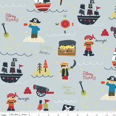 Fat Quarter Treasure Map Pirates Grey Cotton Quilting Fabric - Riley Blake