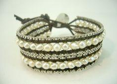 Box silver chain freshwater pearl wrap leather bracelet. by DesignByNulek on Etsy https://www.etsy.com/listing/96369241/box-silver-chain-freshwater-pearl-wrap