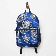 Blue Sparkles, Diamond Heart, Fashion Backpack, Clutches, Traveling By Yourself, Hearts, Backpacks, Printed, Awesome