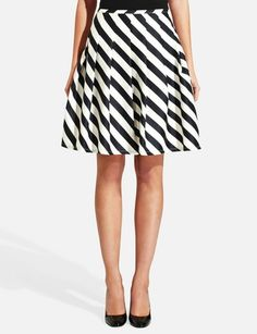Stitched Pleat Flare Skirt on trend with flared skirt and black stripes