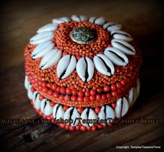 Traditional Ladakh Tribe Trinket Box Crusted with Coral Red Glass Beads ~Cowry Shells and Turquoise Inlaid Brass Bead on Black Cotton Fabric