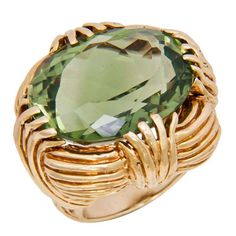 Ruser Large Green Amethyst Quartz Ring | From a unique collection of vintage cocktail rings at http://www.1stdibs.com/jewelry/rings/cocktail-rings/