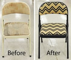 Make Over that Ugly Folding Chair into a Chic Chair with Spray Paint and Fabric!
